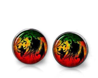Reggae Lion Earrings Rasta Stud Earrings Rasta Lion Earrings Rasta Jewelry