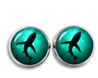 Shark Stud Earrings Shark Earrings 12mm Shark Jewelry Silver plated stud earrings glass dome