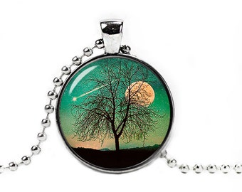 Tree and Moon Pendant Tree and Moon Necklace Space Necklace Nebula Jewelry Galaxy necklace