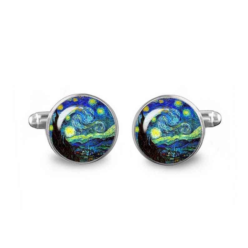 Starry Night Cuff Links Van Gogh Cuff Links 16mm Cufflinks Gift for Men Groomsmen Geeky Cuff links Fandom Jewelry