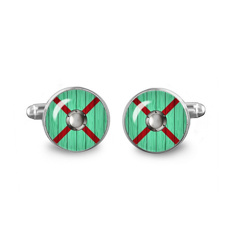 Rollo Lothbrok Shield Cuff Links Rollo Shield Vikings Cuff Links 16mm Cuff links Gift for Men Groomsmen Fandom Jewelry