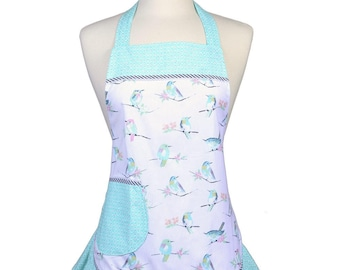 Womens Ruffled Apron Flirty Flounce Gray Birds on White Mint Dots Trims Retro Style Kitchen Chef Ruffled Cooking Apron - Pockets