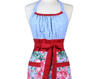 Womens Retro Chef Apron Pink and Raspberry Red Roses on Periwinkle Blue Retro Vintage Inspired Kitchen Cooking Hostess Apron with Pockets