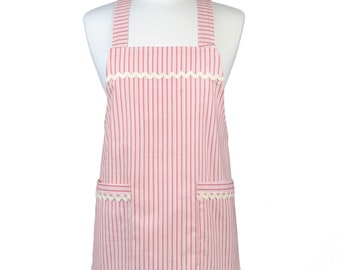 Japanese Crossover Farmhouse Red and White Ticking Canvas Retro Pinafore Crossover Womens Kitchen Apron with Pockets
