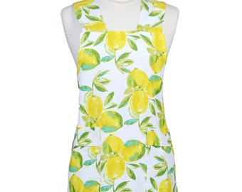Japanese Crossback Apron Retro Lemons on White - Vintage Style Womens Crossover Pinafore Apron with Pockets