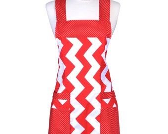 Japanese Crossback Apron Large Red Chevron Cross Over Retro Womens Vintage Kitchen Apron with Pockets