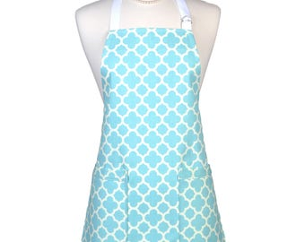 Womens Kitchen Apron Aqua Blue and White Geometric Modern Retro Chef Canvas Vintage Style with Two Pockets and Adjustable Neck