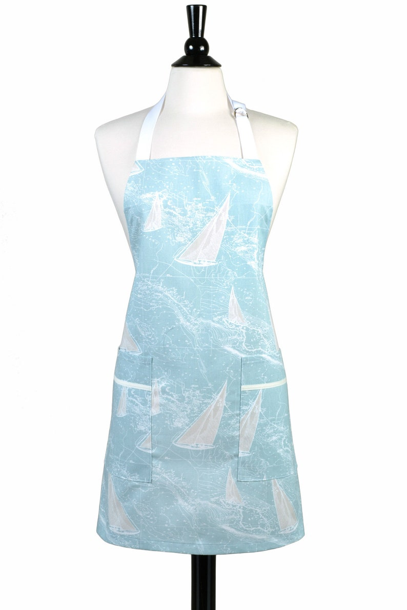 Womens Kitchen Apron Canvas Chef   Sailboats On Soft Ocean Blue Retro  Kitchen Apron   Two Large Pockets And Adjustable Neck Ties