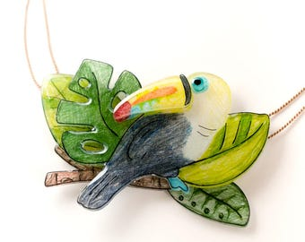 Toucan Tropical Statement Necklace, toucan pendant, tropical bird tropical leaves statement jewelry, tropical necklace