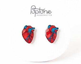 Anatomic Heart Earrings, human heart, alternative valentines, valentine earrings, anatomical heart stud earrings