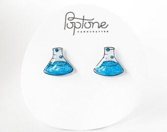 Chemistry Beaker Earrings, Science Nerd Earrings, Laboratory Flasks, Science Jewelry, Teacher Gift