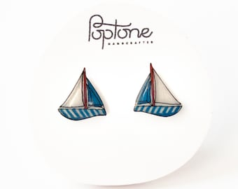 Sail boat earrings, nautical sailing studs, boat earrings, red and blue nautical earrings