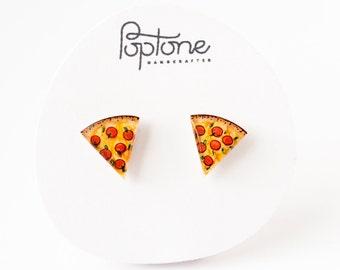 Pizza Earrings, Pepperoni Pizza Studs, Pizza Slice Jewelry, Pizza lover stud earrings