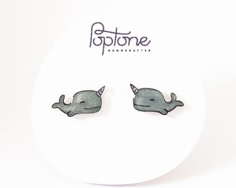 Narwhal Earrings, cute narwhal studs, kawaii nerd earrings