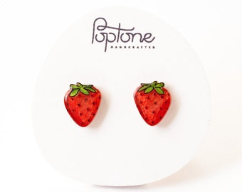 Strawberry Earrings, strawberry fruit studs, strawberries, kawaii fruit earrings, red berry earrings
