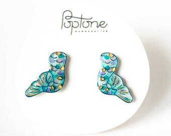 Mermaid Tail Earrings, mermaid scales jewelry, ocean fantasy earrings, mermaid love gift