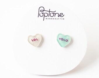 Conversation Heart Earrings, valentines gift for her, custom valentine earrings, candy heart earrings, LOL, YOLO