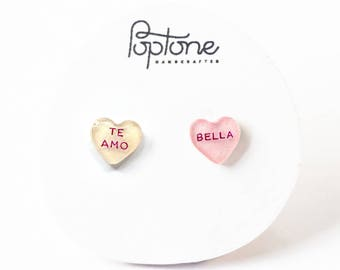 Spanish Conversation Heart Earrings, te amo valentine earrings, candy hearts, valentines gift for her, bella