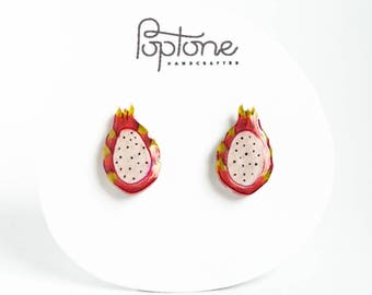 Dragon Fruit Earrings, pitaya earrings, dragonfruit earrings, fruit earrings, kawaii