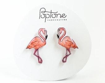 Flamingo Earrings, pink flamingo studs, flamingos, tropical bird jewelry, pink earrings