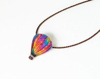 Hot Air Balloon Necklace, rainbow balloon pendant, air balloon jewelry, wanderlust necklace, steampunk balloon, silk cord necklace