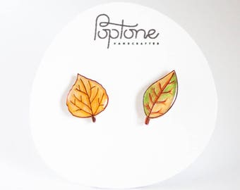 Fall Leaf Earrings, autumn earrings, mismatched leaf studs, autumn jewelry, fall leaves earrings