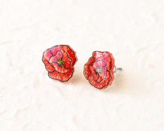One Pair of Acrylic Poppy Flower  Drop Earrings Gift Idea
