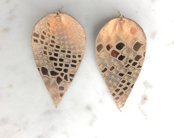 Rose Gold Metallic Snakeskin Spear Leather Earrings