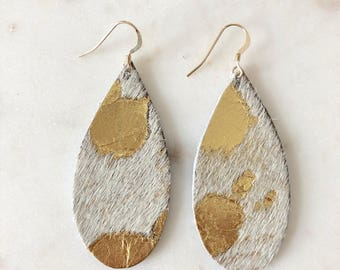 """Platinum """"Palomino"""" Teardrop Leather Earrings Statement Earrings Gold Platinum Speckled Acid Washed 3rd Wedding Anniversary Gift"""