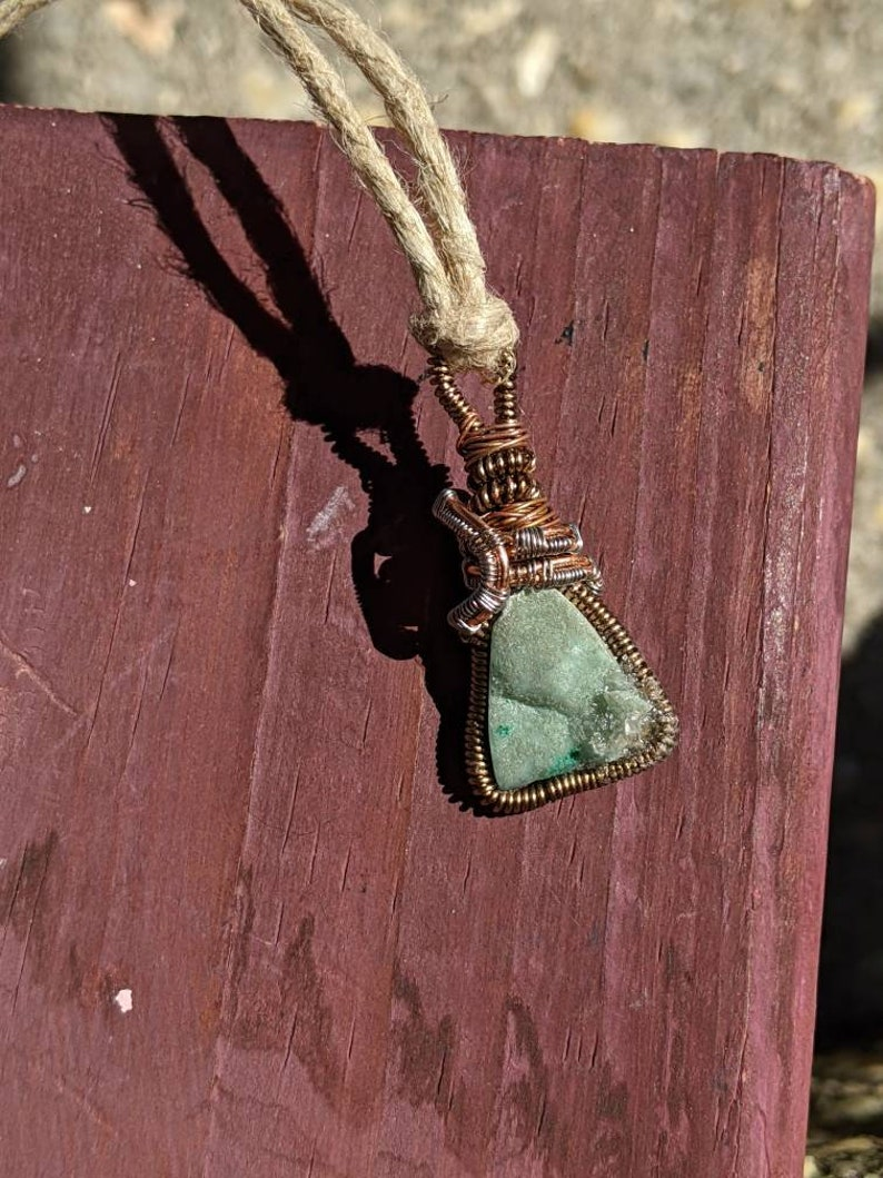 Green Triangle Inlay Designer Necklace Wire Wrapped Pendant Handcrafted Hemimorphite Crystal Pendant