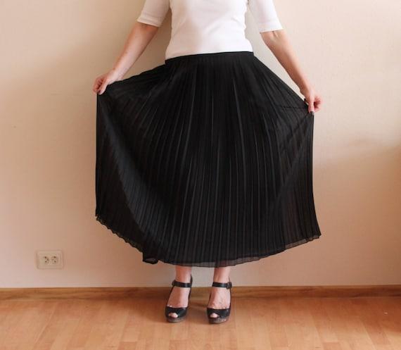 Black Skirts Pleated Skirts Accordion Pleated Midi