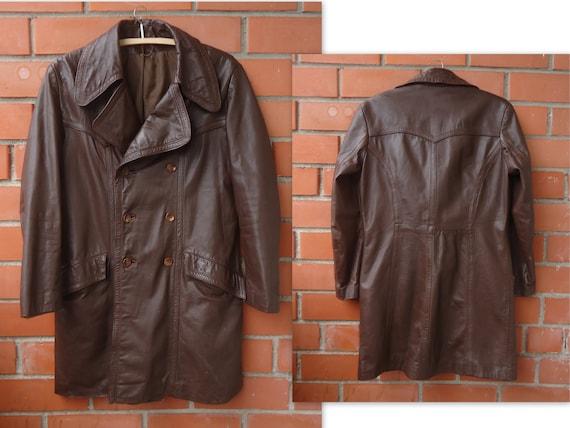 Brown Men's Leather Coat Vintage Leather Coat Real