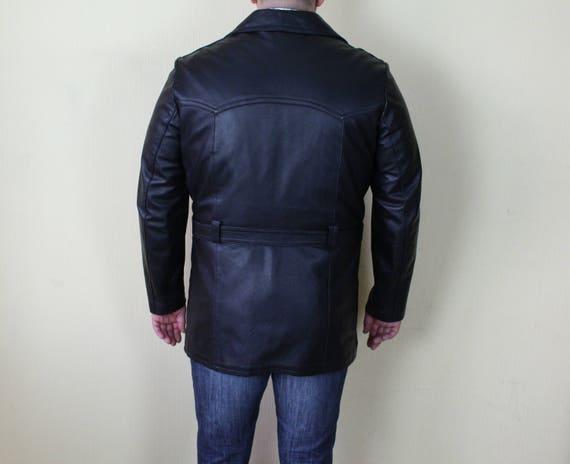 Mens Leather Jacket Black Leather Military Coat B… - image 3