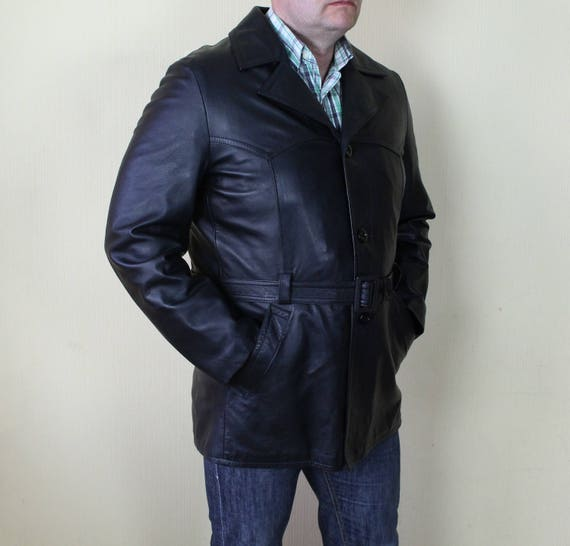 Mens Leather Jacket Black Leather Military Coat B… - image 2