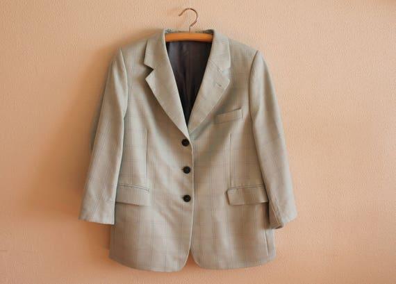 newest 45966 8d7c8 Menta verde Blazer Blazer Donne Plaid Womens giacca a quadretti Blazer in  lana misto seta Giacca Vintage Donna imbottita spalle grandi dimensioni