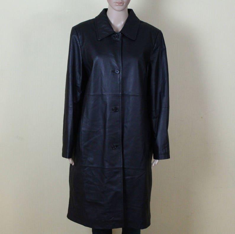 low priced 12f87 5c326 Vintage Leder Mantel Damen Schwarz Leder Mantel echt Leder Mantel aus  echtem Leder Mantel Oversize Leder Mantel Rocker Fetisch große/XL Größe