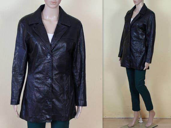 Mediumgroß Vintage Fetisch Echtleder Jacke Mantel Echtem Rocker Damen Leder Aus Schwarz Yfg6vbI7y