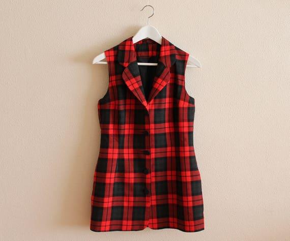 timeless design acbae dcecb Rote Weste, die kariert rot schwarz karierte Weste Karo Damen Weste Frauen  Weste ausgestattet lange Weste Anzug Kragen mittlerer Größe