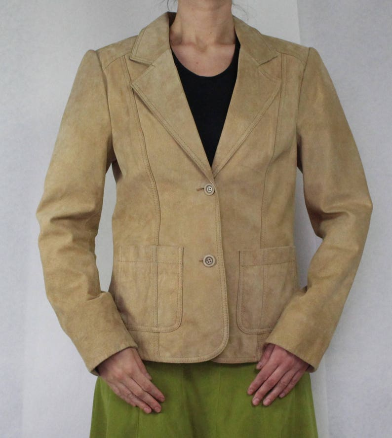 Beige Suede Leather Blazer with Golden Shine Vintage Suede Leather Jacket Women/'s Suede Leather Coat Fitted Hippie Boho Large Size