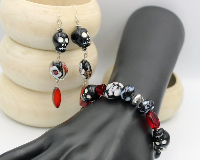 Fun black skull beaded bracelet and earrings set