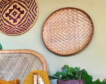 "Vintage Bohemian HUGE Flat Woven Bamboo Rattan Wall Basket / 21"" Diameter Wall Hanging - Natural Tones with Sutble Center Design"