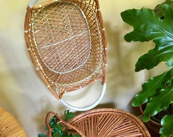 Vintage Woven Rattan Wall Basket - Oval Shape in Ivory and Natural Tone with Handles - Made in the Philippines - Vintage Bohemian Wall Decor