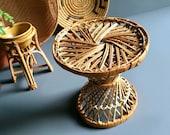 Vintage Bohemian Mini Woven Rattan Drum Stool Style Plant Stand Small Plant Table - 7 quot Diamter x 7 quot H - Vintage Bohemian Decor