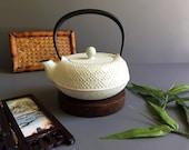 Vintage Mid Century Japanese Cast Iron Teapot Kettle Tetsubin - w Textured Design, Enamel Interior, and Pronounced Top Handle, Signed