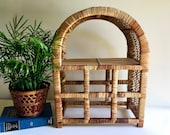 Vintage Boho Large Domed Rattan Wine Rack Storage Rack Standing Shelf - w Tons of Earthy, Boho Flair in EXCELLENT Condition