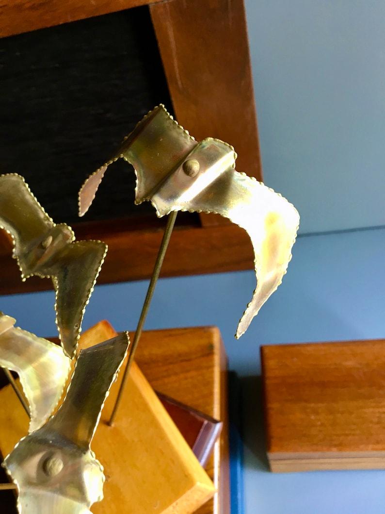 Vintage Mid Century Brutalist Era Jere Style Torch Cut Metal Seagulls Flock Sculpture  Decorative Statue w Dimensional Form /& Wood Base