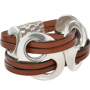 The Slayer Studded Unisex Leather Cuff with Magnetic Clasp