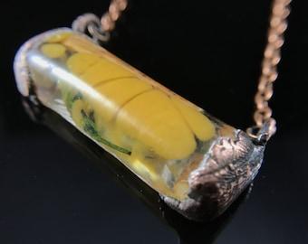 Copperformed resin & wood pendant