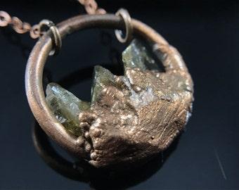 Copper and Citrine Circle Pendant