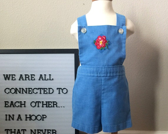 vintage girls denim romper